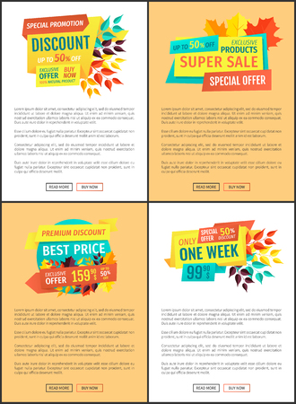Exclusive product discounts set of posters. Mega clearance seasonal autumn proposition. Special reduction of prices best offer ever on banners vector Stock Photo