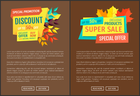 Discount super sale posters set with text sample. Seasonal proposition of markets. Premium product autumnal products sellout special offer vector Stock fotó