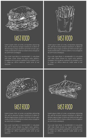 Fast food sketches poster with text sample. French fries in package taco roasted bread sandwich monochrome outline. Hamburger take away set vector