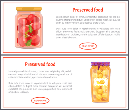 Preserved Food Banners with Tomatoes and Peaches 스톡 콘텐츠