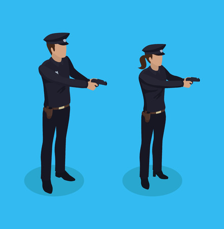 Police Policeman and Woman Vector Illustration