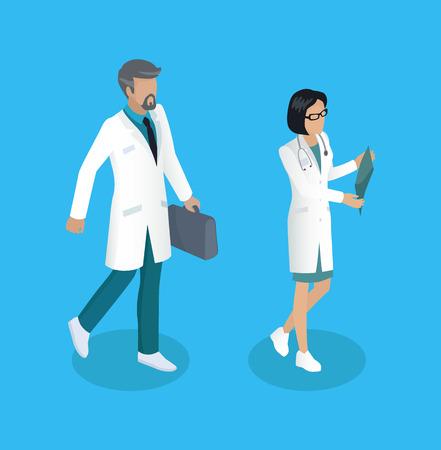 Medical Worker Medics Set Vector Illustration