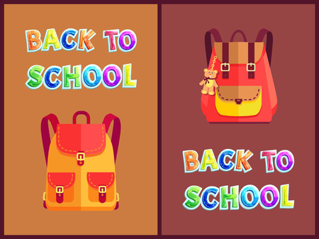 Rucksacks for Girls with Bear Toy Trinket Poster Banco de Imagens - 112097598