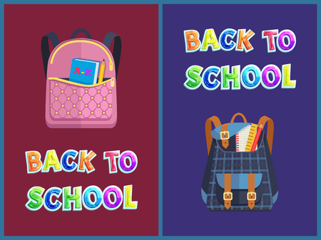 Back to school staff poster including girlie and unisex bags. Vector leather schoolbag with pins and alphabet book and squared rucksack with utensils. Illustration