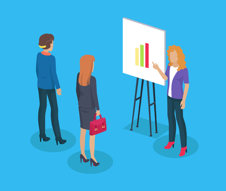 Woman presenter and listeners. Business lady with bag looking at chart and colorful diagram. Conference of ladies increased visualisation line vector
