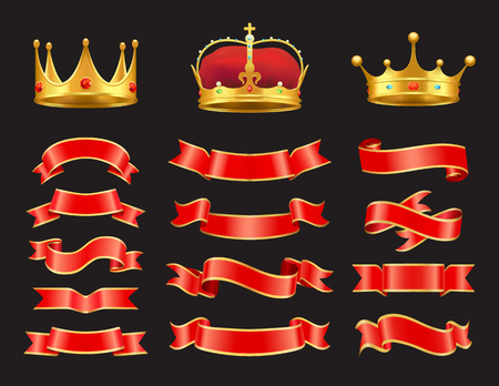 Ribbons and crowns set isolated on black backdrop, flexible red stripes with reflections, collection of golden headdresses stones vector illustration