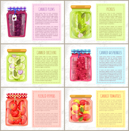 Canned plums and pickles posters set. Cucumbers with dill and garlic zucchini with onion Tomatoes and pepper raspberries jam in glass jars vector