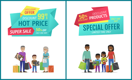 Special offer vector banner with people shopping. Hot price, super sale, exclusive product, limited time, only one day, happy family with packages Иллюстрация