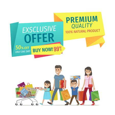 Buy now premium quality natural products for half-price exclusive offer banner. Family from clearance sale with full bags and gifts trolley promo.
