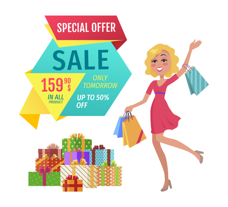 Special offer vector banner with person shopping. Sale only tomorrow fixed price in all product, happy lady with packages in hands, with pile of boxes