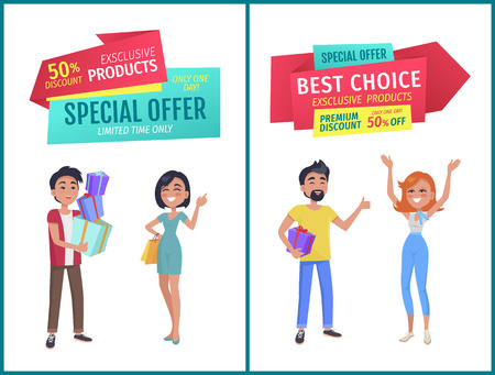 Special offer, best choice for exclusive products, premium discount for limited time banner. Fiends or couples customers with gifts and bags waving.