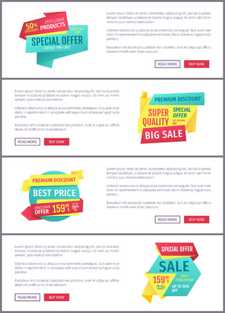 Special offer banners set, vector design icons. Hot price, mega sale, premium discount, best choice, exclusive products, limited time promotion poster with text