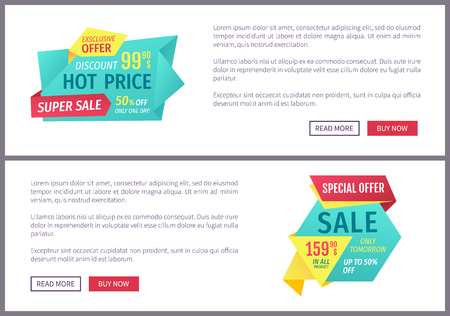 Special offer banners set, vector design icons. Hot price, super sale, exclusive discount, buy now button, one day promotion, online poster sample