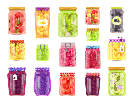 Preserved vegetables and fruits in containers set. Jars with pickled cucumbers and tomatoes. Plum peach and blueberry conservation isolated vector Çizim