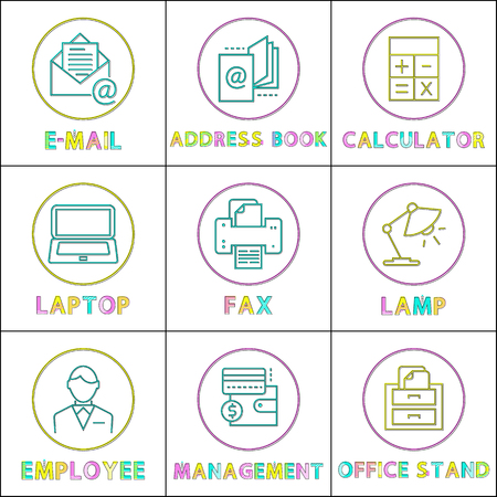 E-mail letter and address book, calculator and laptop, fax device and lamp, employee man and office stand work management linear rounded icon set. Illustration