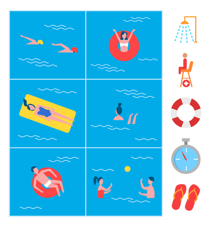Swimming pool activity and icon set. Swimmers and lady lying on mattress woman in lifebuoy lifeline. Signs of shower timer and guard flip-flops vector