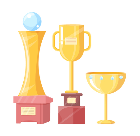 Victory cup, statuette and prize mug trophy for contest or competition vector illustration isolated on white. Award-winning collection color set.