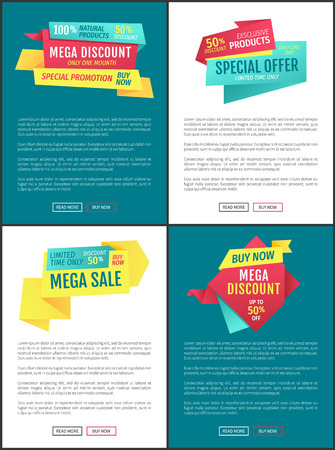 Exclusive sales and discounts posters set. Limited time mega offer proposition clearance. Half price reduction cost reduced on natural products vector