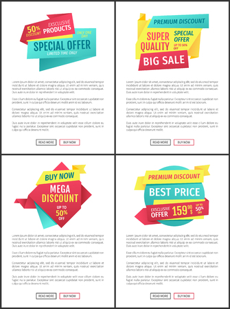 Big sale, mega discount and hot price advertising phrases banner set. Special exclusive offer landing page sample for shops and stores e-commerce. Illustration