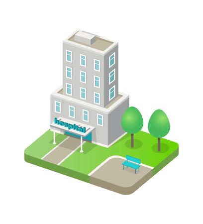 Vector de plantilla de edificio de hospital, maqueta de institución médica moderna, diseño abstracto de casa para tratamiento y atención de personas, diseño de clínica 3D