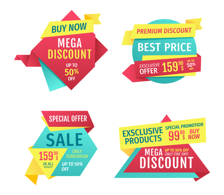Special offer banners set, vector advertising. Discounts and promotions just month, premium quality, exclusive products only one day. Buy now touting title for super sale in limited time poster