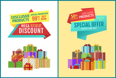 Mega discount for exclusive products banner with gifts heap isolated. Only one day bargain vector promotion poster with presents in festive packages.