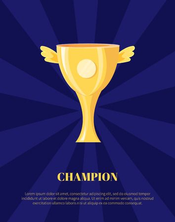 Champion golden trophy cup vector illustration. Shiny award, goblet with wings isolated on blue, rewarding icon, sport theme poster in cartoon style Illustration