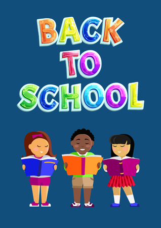 Back to school flyer including different nationalities schoolchildren. Asian and european girls and african boy for education right equality promo. Illusztráció