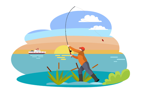 Fishing fisherman with rod vector illustration. Standing fisher casting fish-rod, man in sportswear, among bulrush, isolated on landscape sport theme