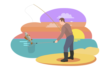 Fishing fisherman with rod vector illustration. Standing fisher with fish-rod, landing net catch fish in sportswear isolated on landscape sport theme