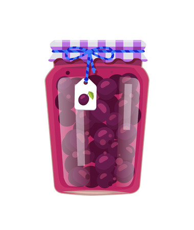 Canned plums in glass jar with lid decorated with string and bow and scrap label. Home cooking granny fruit conservation vector illustration isolated.
