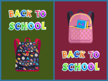 Back to school backpack having pattern made of flowers and pencils. Rucksack set with book in hard cover abc alphabet learning isolated on vector Ilustração