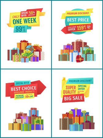 Special offer mega discount set with presents gifts in box decorated with ribbons and bows. Quality products super sales limited week only vector