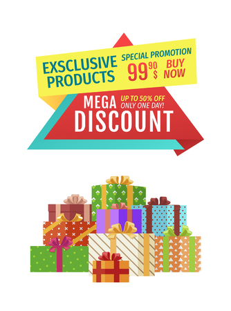 Special offer vector banner with pile of boxes. Mega discount, exclusive products, only one day promotion, buy now poster with colorful presents.