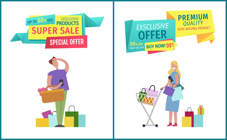 Super sale special offer posters set with man and woman. Clients holding wallets in hands bought gifts. Trolley full of bags from shopping vector