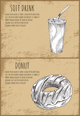 Soft drink and donut posters set. Sweet food with chocolate topping. Beverage cold refreshment in plasic cup. Monochrome sketch vector illustration