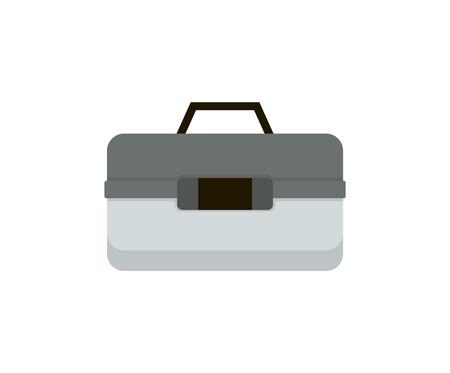 Conteneur de caisse ou de boîte pour illustration vectorielle de wobbler et de matériel de pêche aux engins. Représentation d'accessoires de pêche pour une affiche informative de magazine ou de magasin.