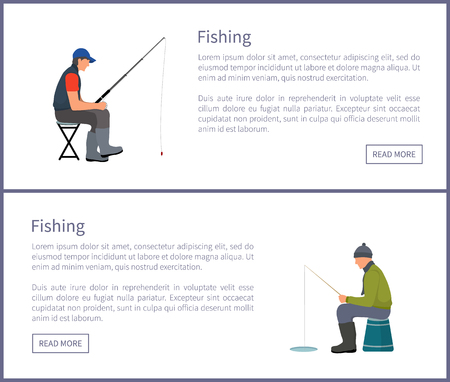 Fishing web posters sitting fisherman in summer and in winter. Fishers sit on stool and special seat with fish-rods, in hats and sportswear, vector  イラスト・ベクター素材