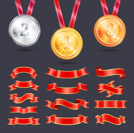 Metallic medals with ribbons decoration vector icon. Shiny gold, silver and bronze awards with red shaped, scroll and curly strips and strings badges