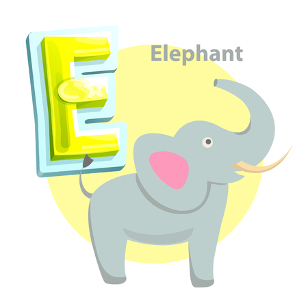 Elephant children alphabet animal with trunk, E letter. Educational flashcard with wild mammal. Worksheet for kids learning language isolated vector Illustration