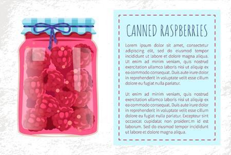 Canned Raspberries Marmalade in Rustic Glass Jar