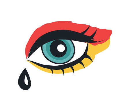 Eye with makeup rock theme flat vector illustration in cartoon style. Punk patch isolated on white background image for musical material decoration. Illustration
