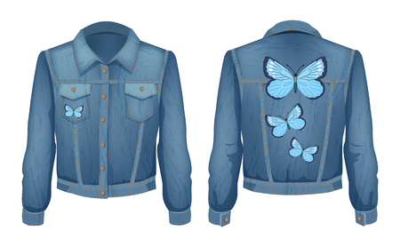 Jacket denim with patch of flying butterflies. Jeans shirt material for young people. Stylish clothing for youth, isolated on vector illustration Çizim