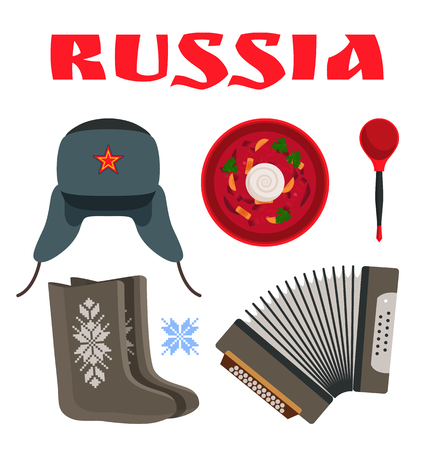 Russia poster with traditional items set. Borscht served with white sour cream and wooden spoon. Warm hat and felt boot for winter vector illustration