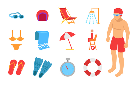 Man in diving clothes with swimming equipment icon. Swimwear and glasses, umbrella and towel, shower and sunbed, stopwatch and flippers, lifebuoy set