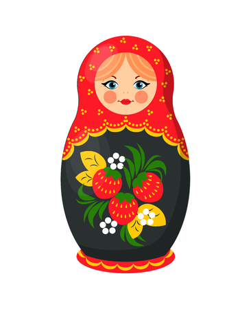 Russian nesting doll closeup. Wooden girl image decorated with floral elements, green leaves and strawberries. Matryoshka toy icon vector illustration Vectores