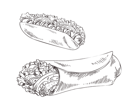 Hot dog and burrito fast food monochrome sketches outline set. Take away dishes with meat, sausage and vegetables salad leaves vector illustration Standard-Bild - 127673022