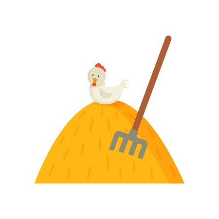 Chicken on haystack with stuck pitchfork agriculture colorful illustration. Bale of dry grass and white hen sitting on top vector image in cartoon style Vectores