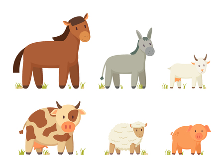 Red horse and donkey, spotted cow and pinky pig, goat and sheep poster. Big farm animal vector illustration set in cartoon style isolated on white. Ilustrace