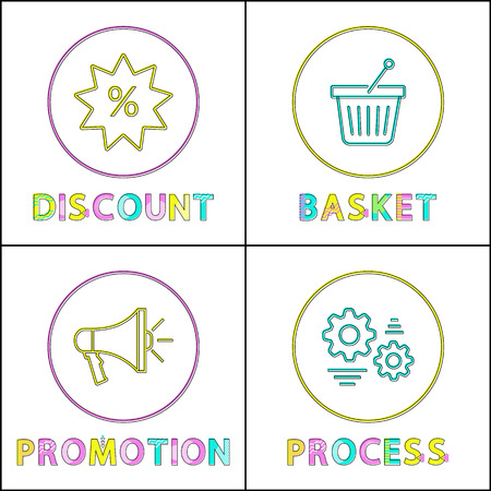 Discount and basket posters set. Promotion of goods production, process represented in form of gears. Services for online shopping vector illustration Illustration